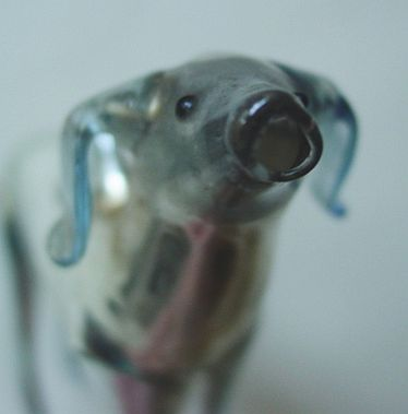 Glass Dog Ornament Red Nose And Red Eyes